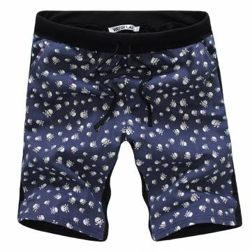 Amurs&Superb Men's Cotton Spinning Skull Printed Tethers Capri Pants