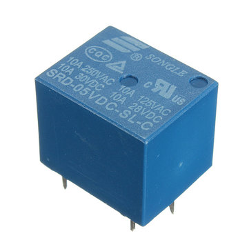 5Pcs Mini 5V DC Power Relay SRD-5VDC-SL-C 5 Pin PCB Type