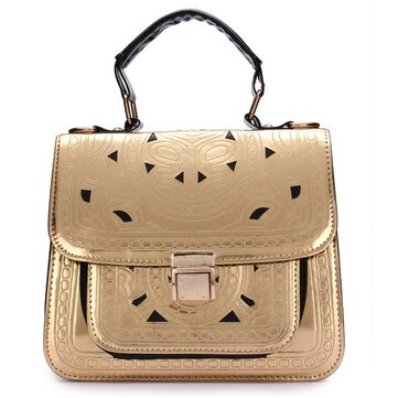 Women Cutout Metal Color Embossed Envelope Shoulder Bag