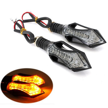 12 Led Motorcycle Turn Signal Indicators Light Amber Blue Lamp