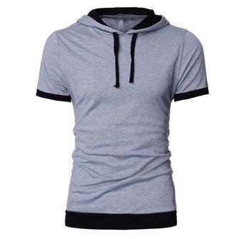 Mens Summer Fashion Solid Hooded Casual Slim Short-sleeved T-shirt