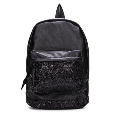 Fashion PU Leather Black Sequined Decorated Backpack Travel Bag