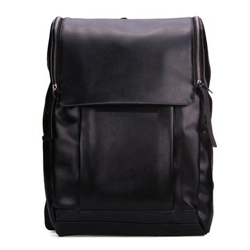 Men's Vintage Black PU Leather BackPack School Bag