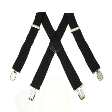 Mens Terylene 4 Clips High Stretch Elastic Black White Suspenders