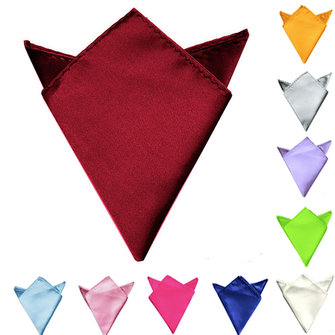 Men Classic Wedding Solid Color Pocket Square Satin Hankerchief