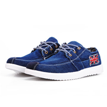 Mens British Style Imitation Jeans Canvas Shoes Casual Flats