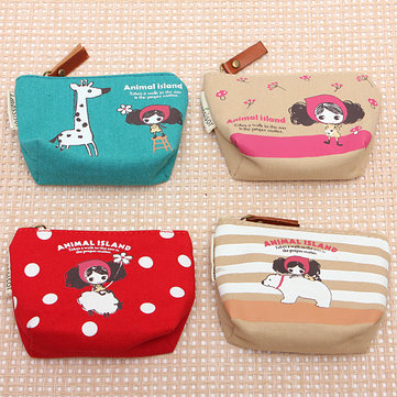 Lovely Canvas Catoon Mini Key Cash Card Coin Bag Purse Wallet