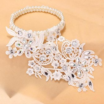 Bridal Lace Hair Accessories Wedding Jewelry Pearl Garland Headbrand