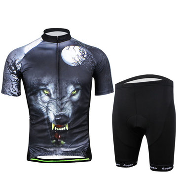Cycling Suit Bicycle Bike Wear Men Shirt and Shorts Wild Wolf