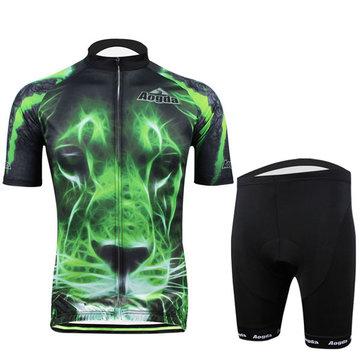 Ciclismo terno bicicleta homens desgaste shirt e calções tigre verde