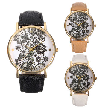 Casual Lace Flower Pattern PU Leather Band Women Quartz Watch