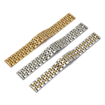 Stainless Steel 20mm Width 3 Colors 7 Beads Watch Band