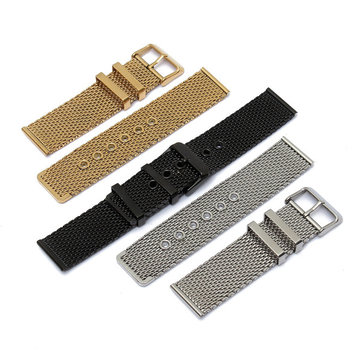 20mm Black Silver Gold Stainless Steel Mesh Pin Buckle Watch Band