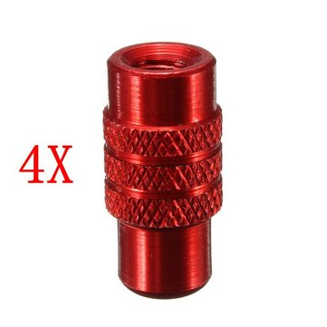4Pcs Red Motorcycle Bicycle MTB Valve Caps Aluminum Dust Cover