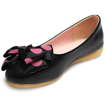 Bowknot Polka Dot Casual Walking Ballet Flats Ballerinas Shoes