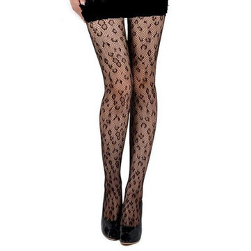 Black Leopard Point Mesh Breathable Sexy Pantyhose Stocking