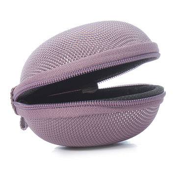 Unisex Round Hard Headset Coin Holder Bag Small Change Purse