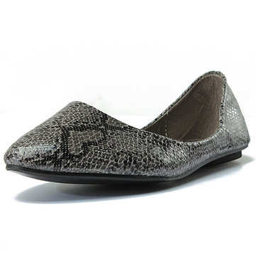 Women Python Snake Skin Print Loafers Casual Flat Shoes
