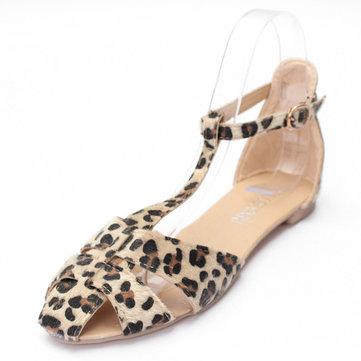Sandals Shoes Leopard Flat Heel Flip Flops