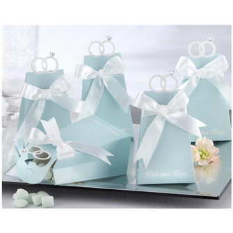 10pcs Blue Diamond Ring Style Paper Wedding Candy Boxes
