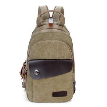 Mens Canvas Outdoor Chest Pack Cross Body Single Shoulder Bag Backpack