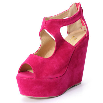 Women Peep Toe Platform Wedge High Heel Zip Up Pumps