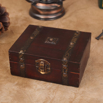 Vintage Wooden Jewelry Gift Box Storage Oraganizer Case Metal Lock