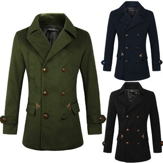 Mens Fashion Windbreaker Coat Lapel Double-breasted Slim Woolen Jacket