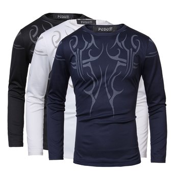 Mens Casual Crew Neck Fashion Top Tattoo Printing Long Sleeve T-shirt