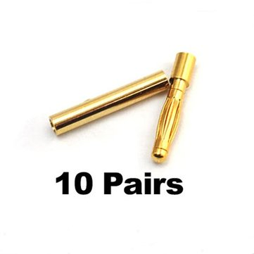 10 Pairs 2mm Gold Bullet Banana Connector Plug For ESC Battery Motor