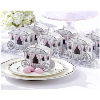 10pcs Cute Enchanted Carriage Favor Boxes Wedding Party Candy Box