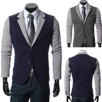 Mens Casual Suits Slim Fit Stitching Two Button Business Suits