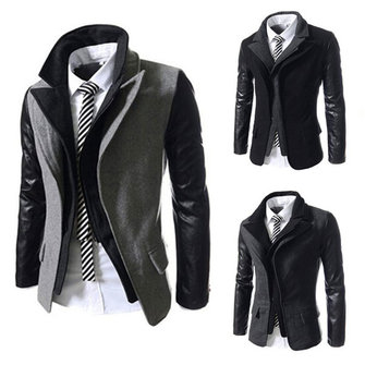 Mens Winter Oblique Zipper Design Slim Woolen Tweed Jacket