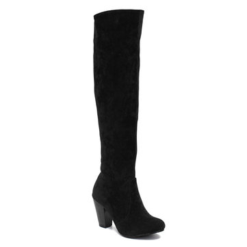 Women Classic Suede Thick Heel Over the Knee Boots