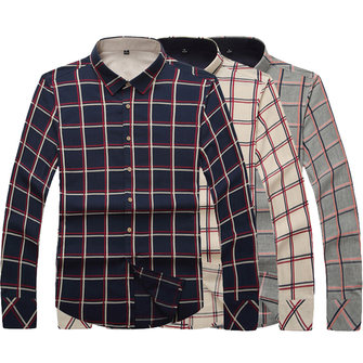 Mens Plaid Fashion Business Long Sleeve Casual Slim Wash-and-wear of Shirt