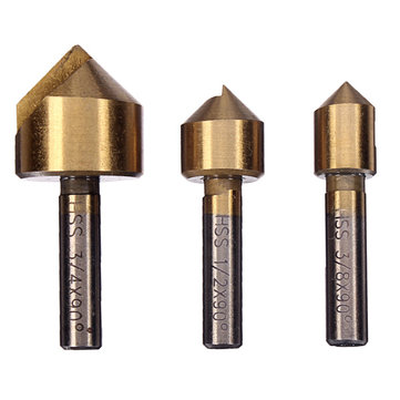 3pcs Single Flute 90 Degree Edge Chamfer Set Countersink Drill Bit