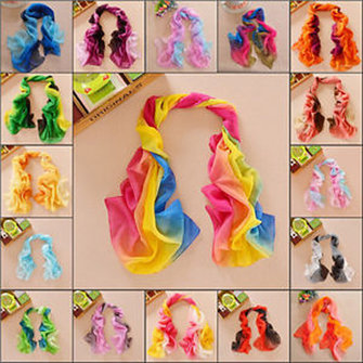 Women Elegant Mix Color Soft Silk Chiffon Wrap Neck Scarf Shawls