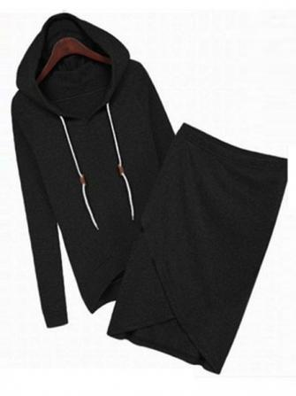 Women Long Sleeve Hooded Tops And Irregular Hem Hip Skirt Cotton Sets