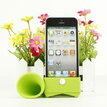 Lovely Design Horn Shape Silicon Loudspeaker For iPhone 4 4S