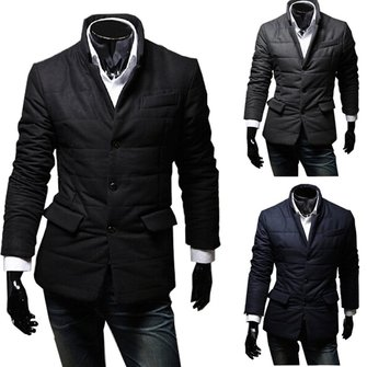 Men's Winter Cotton Padded Warm Casual Suit Coat Jacket Overcoat