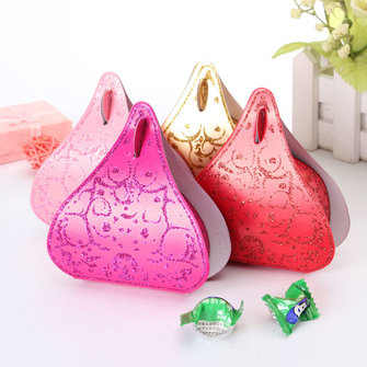 100Pcs Romantic Peach Heart Wedding Party Favor Candy Boxes