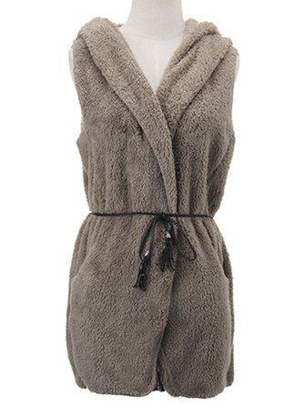 Women Casual Fleece Sleeveless Hooded Sweater Vest With Belt