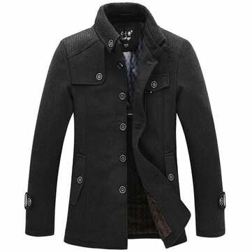 Winter Fashion Men's Warm Fleece Jacket Coat Casual Wool Jacket Plus Size S-XXL