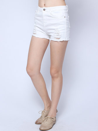 Casual White High Waist Ripped Holes Tassels Hem Hot Short Jeans