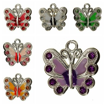 Silver Plated Crystal Rhinestone Butterfly Charm Necklace Pendant DIY