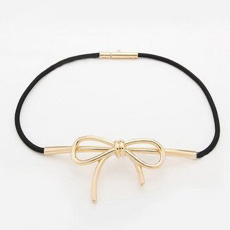 Women Girls Elegant Bowknot Metal Buckle Elastic Thin Belt