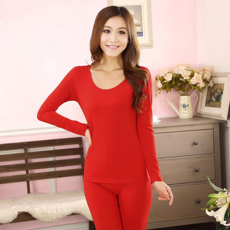 Women Soft Elastic Crew Neck Winter Underwear Pajama Set