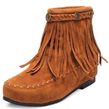 Женское Высота Увеличительные кисточки Плоские лодыжки короткие Ботинки