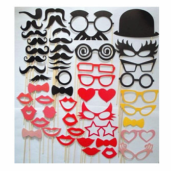 50Pcs Fun DIY Photo Booth Props On A Stick Wedding Party Fun Favor