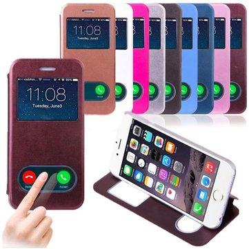 Smart Window View PU Leather Stand Flip Hard Case Cover Voor iPhone 6 6s